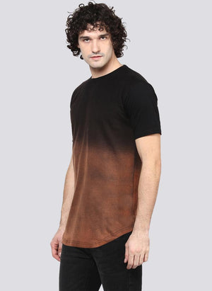 Brown Ombre Faded Crew Neck T-Shirt