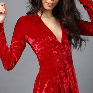 Bright Red Velvet Deep Neckline Romper