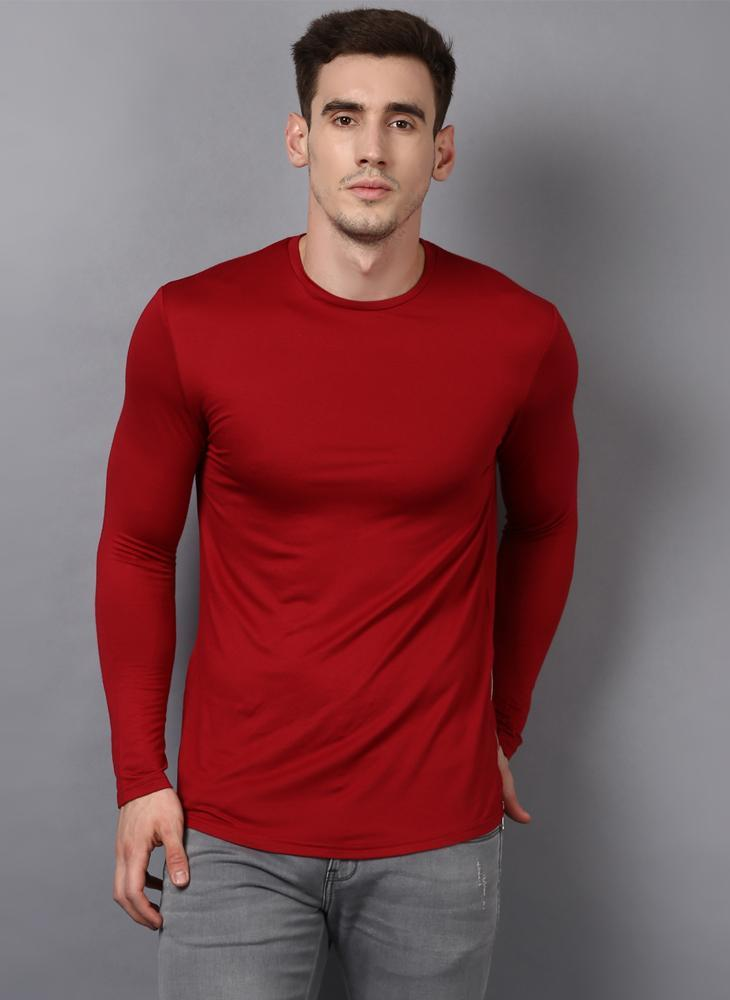 Red Crew Neck Long Sleeved T-shirt