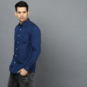 Cobalt Blue Button Down Regular Fit Shirt