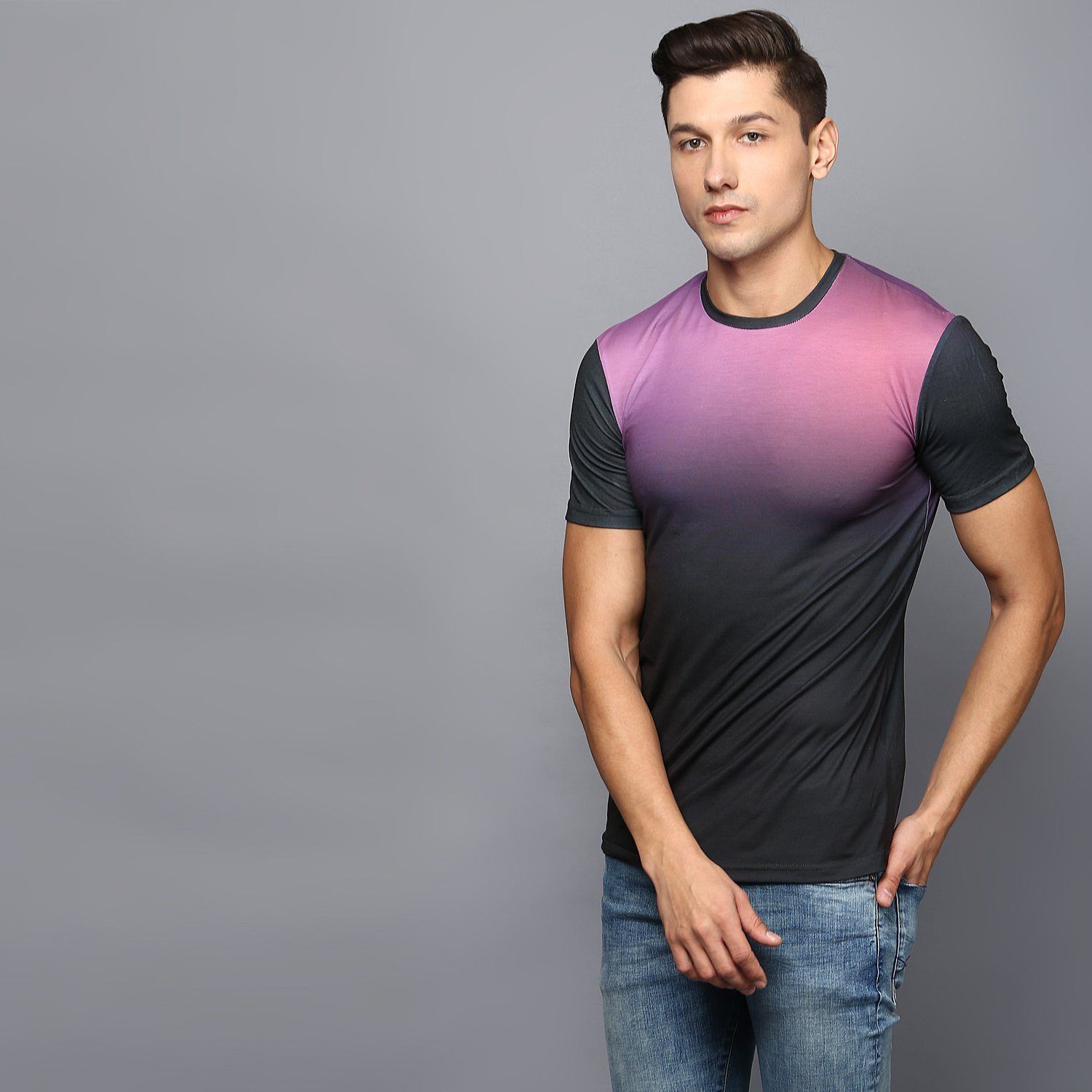 Two-tone Ombre Crew Neck T-shirt