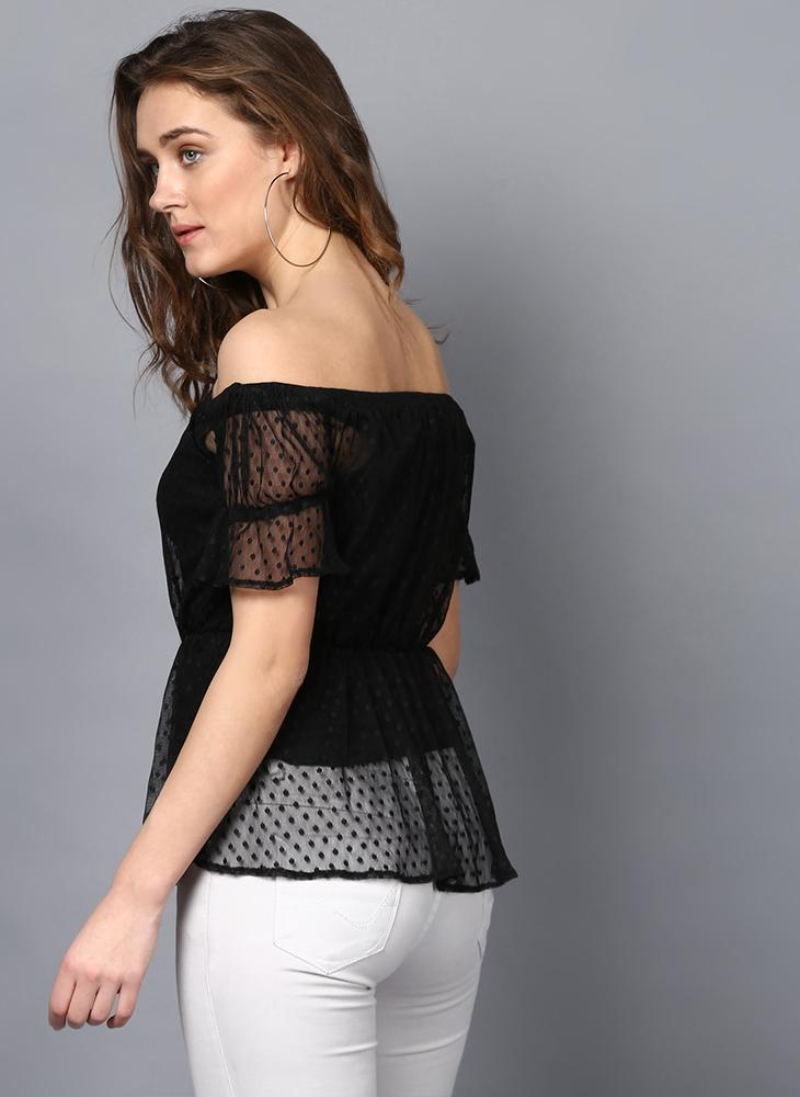 Off- Shoulder Dobby Net Frill Top