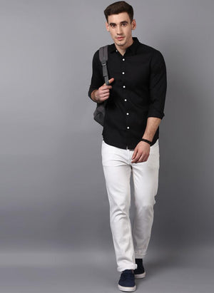 Black Button down Shirt with Contrast White Buttons