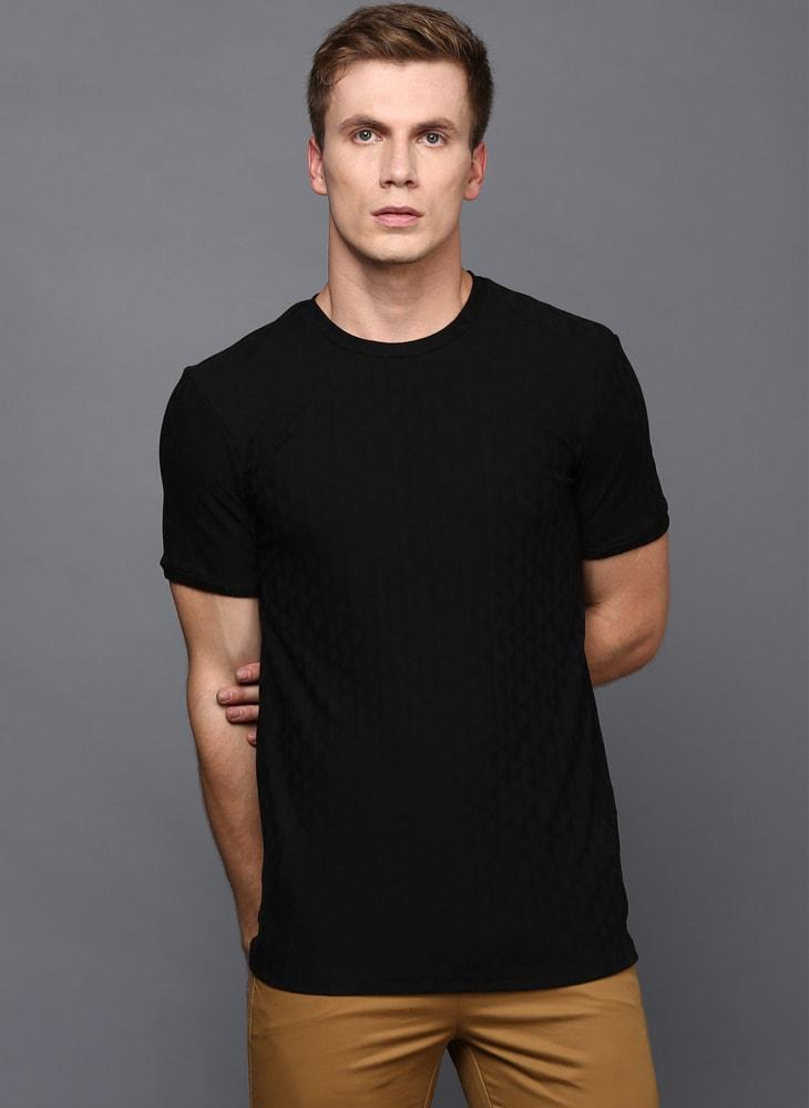 Black Crew Neck Geometrical Textured T-Shirt