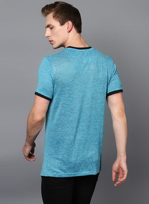 Melange Blue Crew Neck T-shirt with Contrast Rib