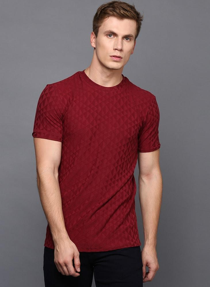 Maroon Crew Neck Geometrical Textured T-Shirt