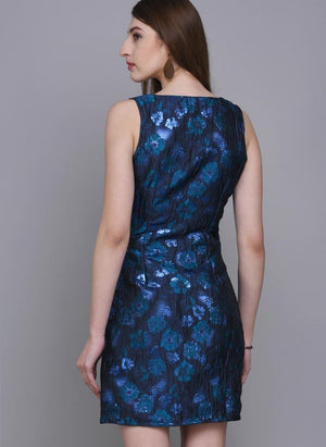 Blue Brocade Dress with Floral Motif