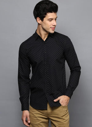 Black Contrast Dotted Printed Shirt