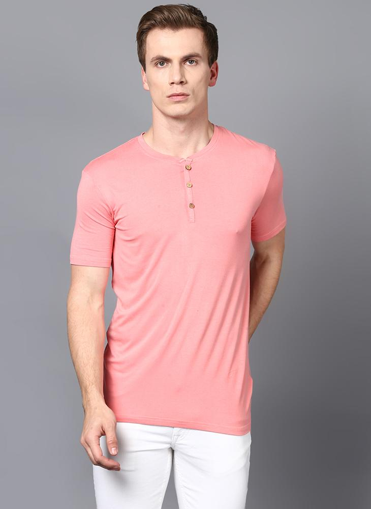 Light Pink Half Sleeve Henley Collar T-Shirt