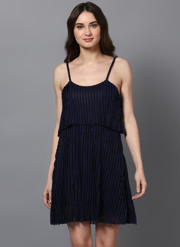 Navy Shift Dress in Pleated Shimmer Fabric