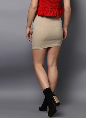 Beige Mini Skirt with Front Tie-Up detail