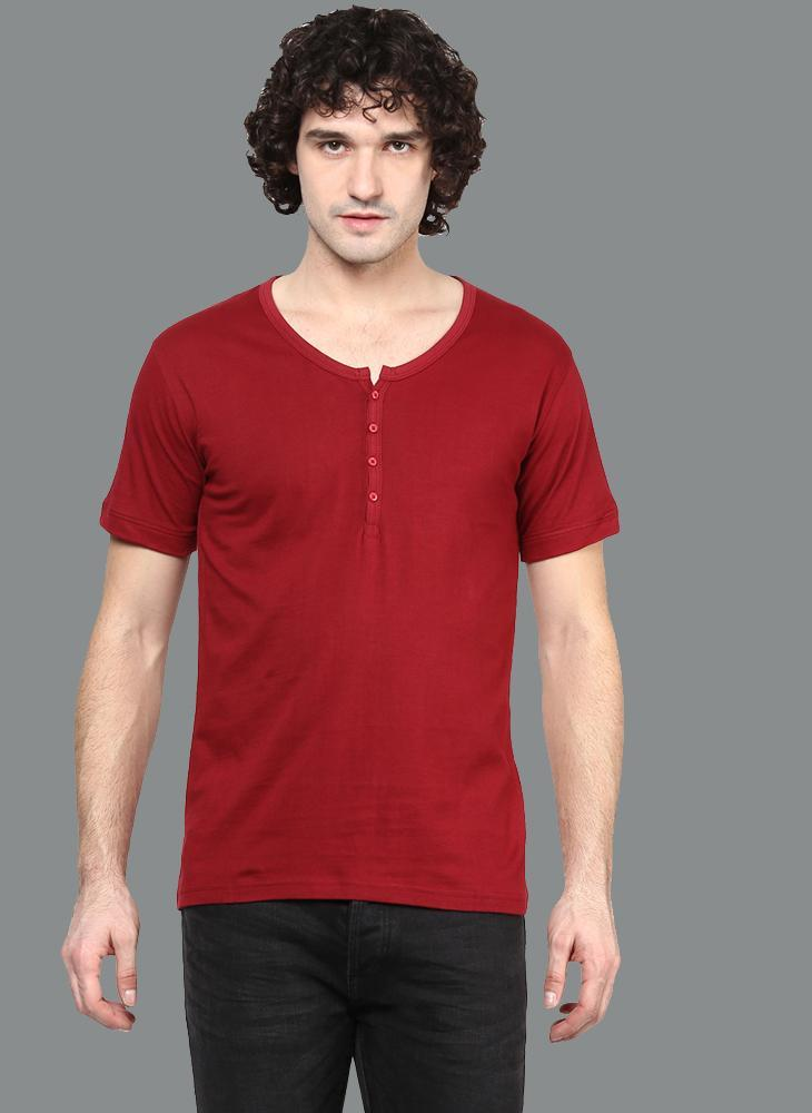 Maroon Basic V-Neck Henley Collar T-Shirt