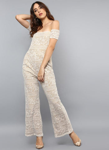 Floral lace Jumpsuit with Wide Leg