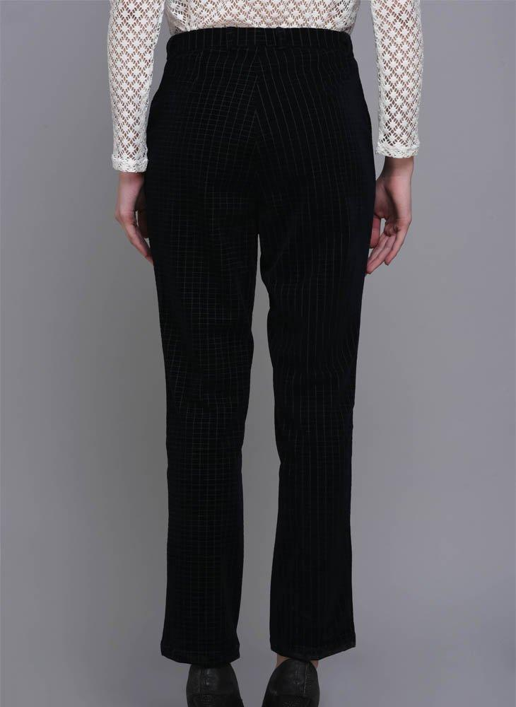 Checkered Velvet Cropped Trousers