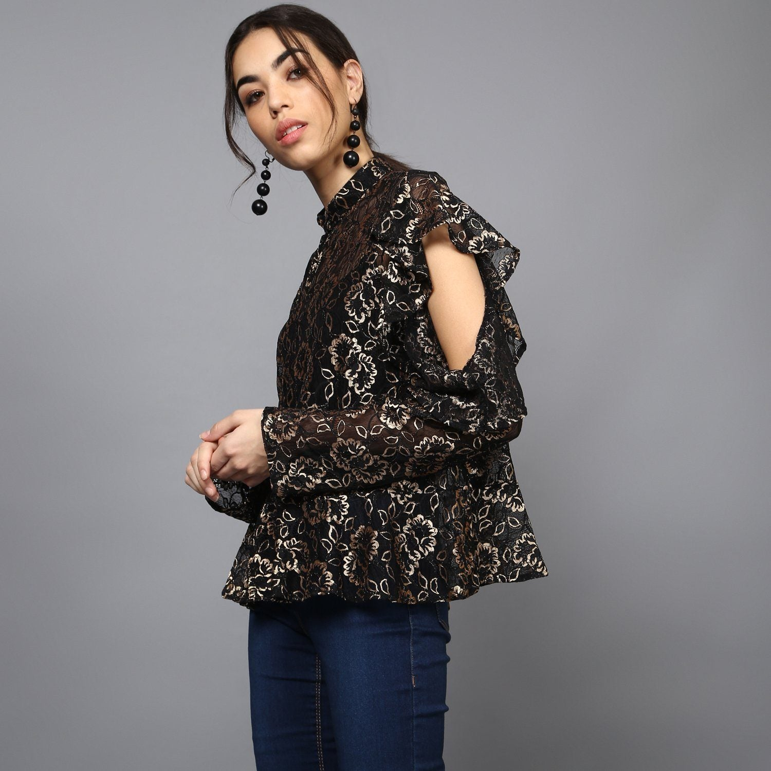 Sheer Gold Lace Ruffled Sleeve Blouse