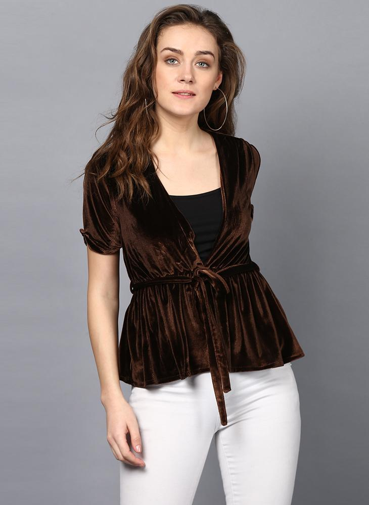 Brown Velvet V-Neck Top with Waist Belt