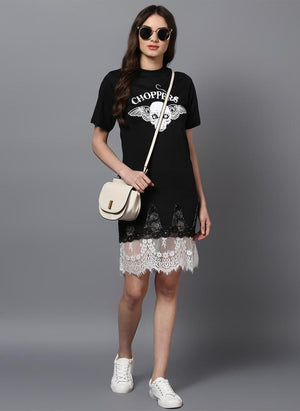 'CHOPPERS' Printed Basic Dress with Lace Insert