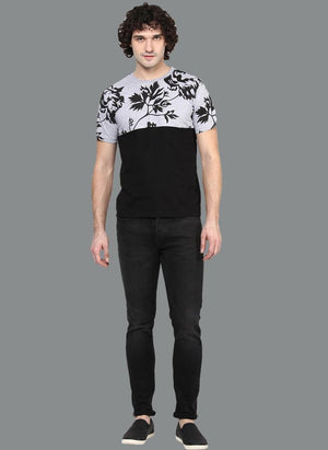 Contrast T-shirt with Floral Chest Print