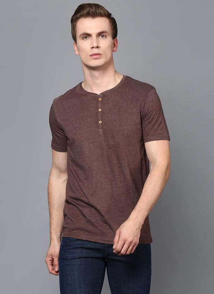 Brown Half Sleeve Henley Collar T-Shirt