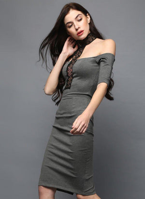 BodyCon Grey Choker Dress with Lace detail