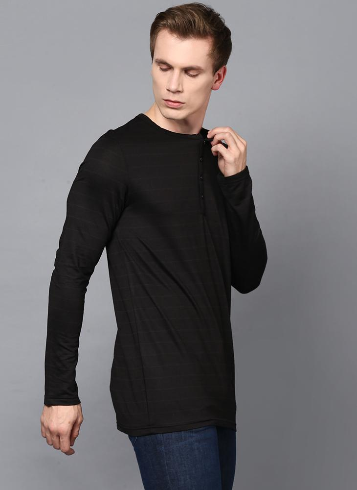 Black Full Sleeve Henley Collar T-Shirt