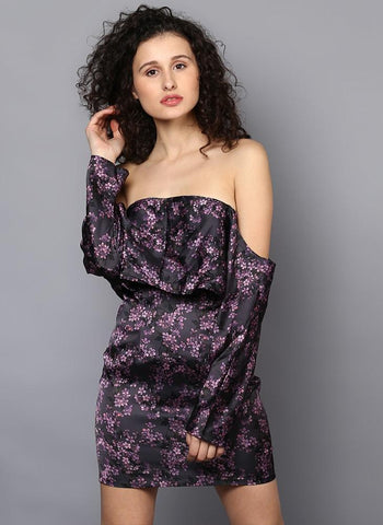 Bardot Loose Sleeve Printed Satin Dress