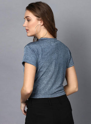 Steel Blue Box Fit Top with Front Knot