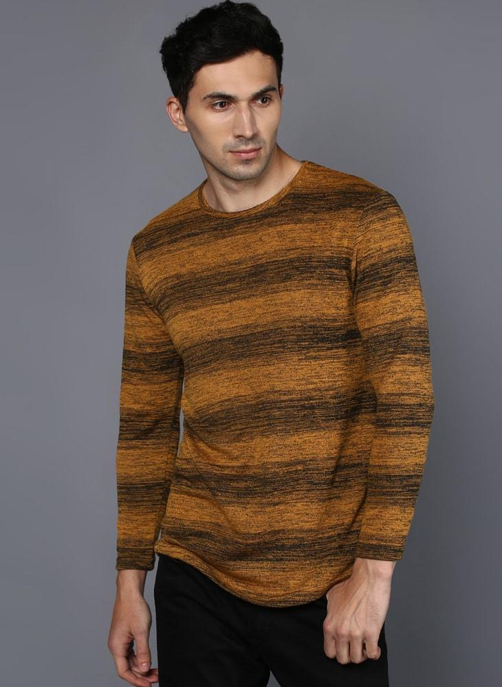 Long-Sleeved T-Shirt with  Melange Contrast stripe