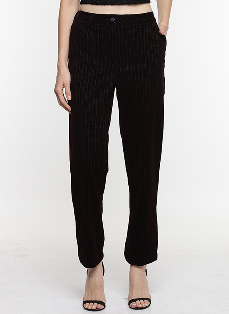 Maroon Velvet Checkered Trousers