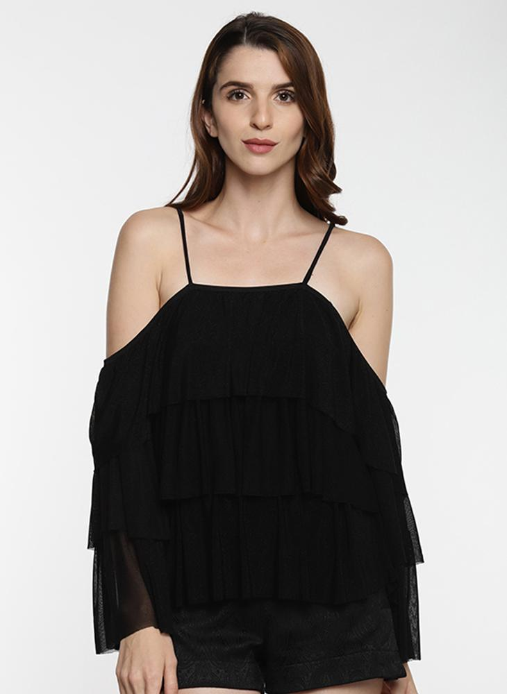 Black Ruffle Cold Shoulder Top