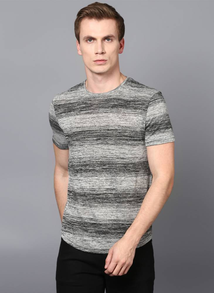 Grey Striped Crew Neck T-shirt