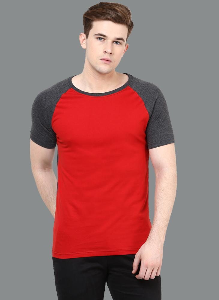 Red Crew Neck T-shirt with Contrast Raglan Sleeves