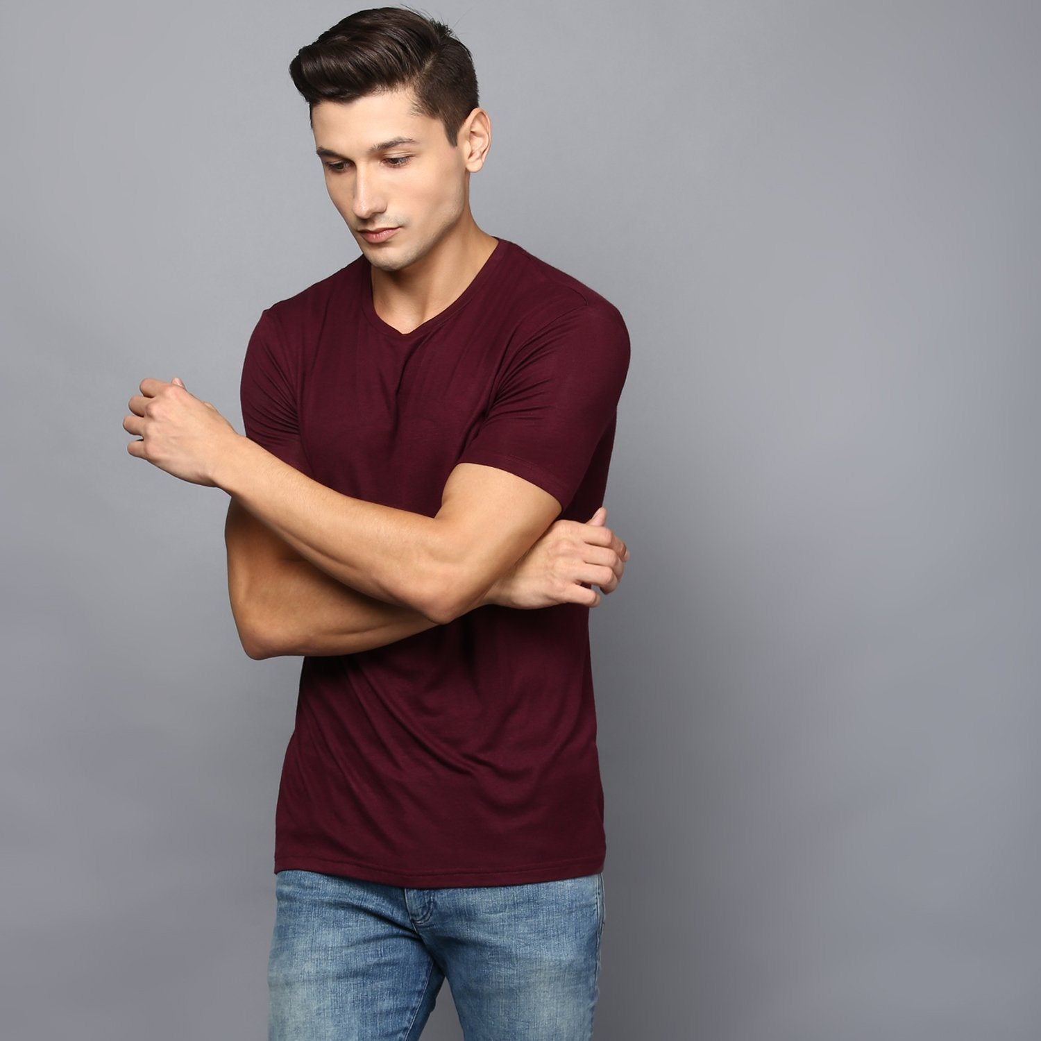 Basic Burgandy Crew Neck T-Shirt