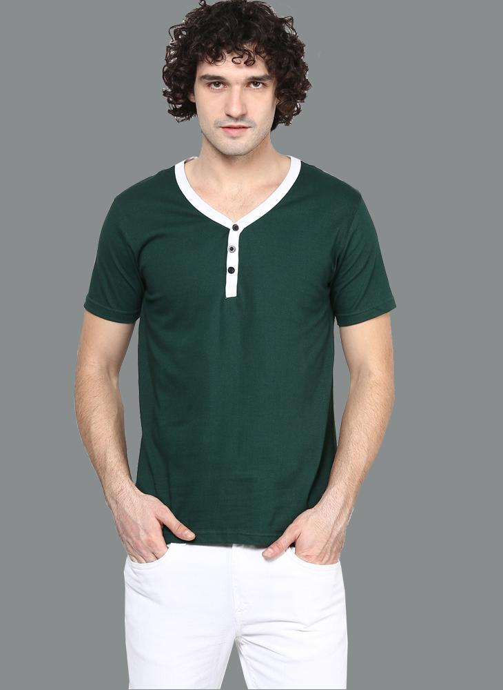 Dark Green Contrast Placket Henley T-shirt