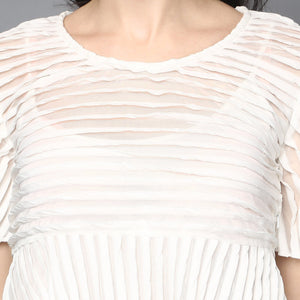 White Pleated Fit& Flare Blouse