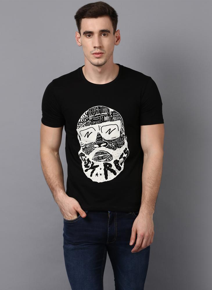 'RICK ROSS' Printed Basic Black T-Shirt