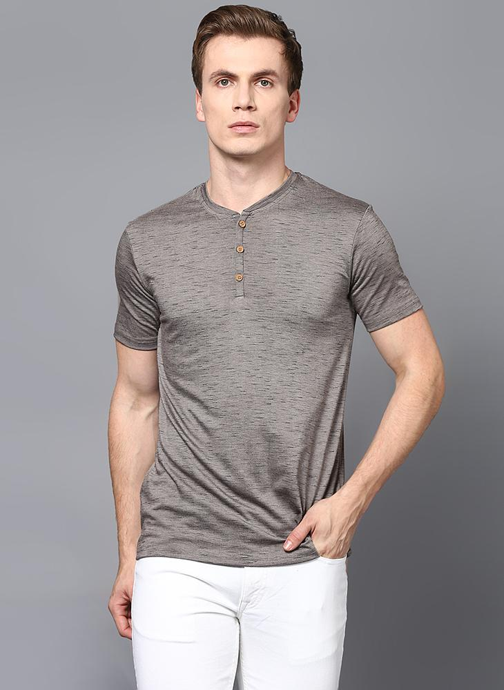 Dashed Grey Half Sleeve Henley Collar T-Shirt
