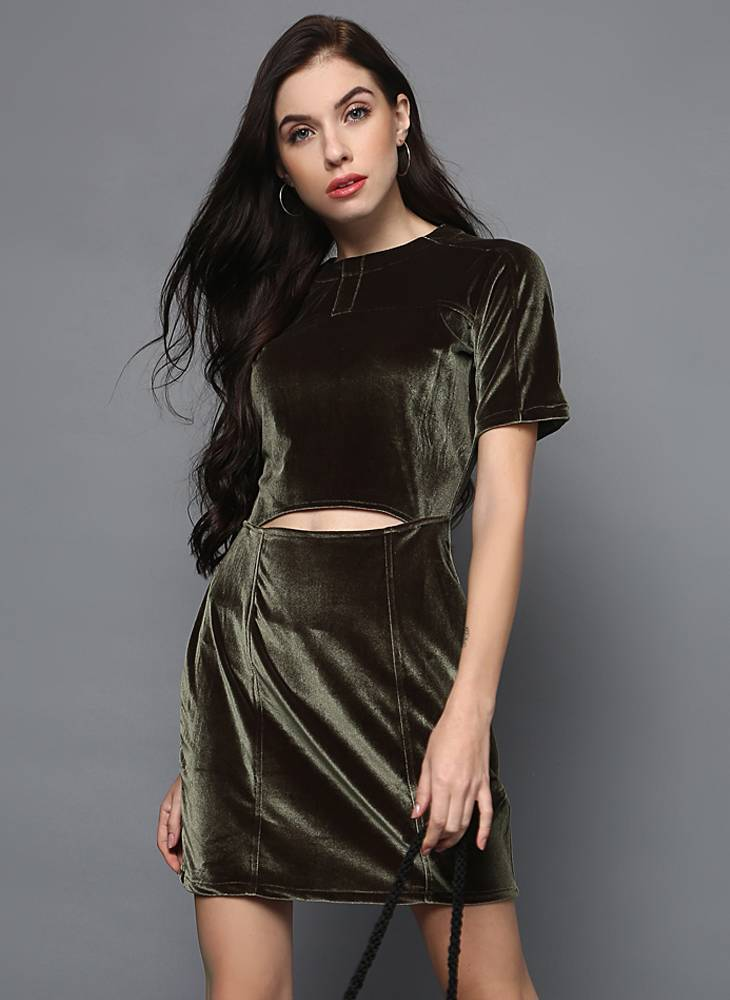 Olive Green Velvet Dress with Midriff cut out & Stitch Detail