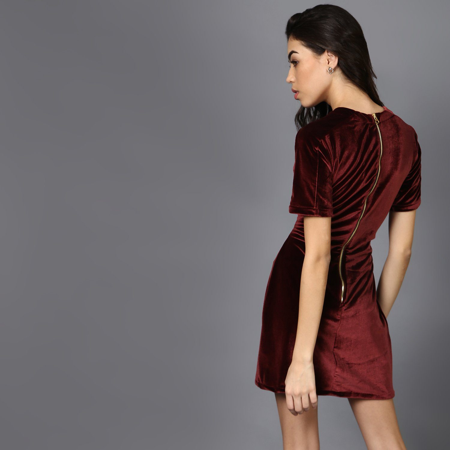 Maroon Velvet Dress with Mid-riff cut out & Stitch Detail
