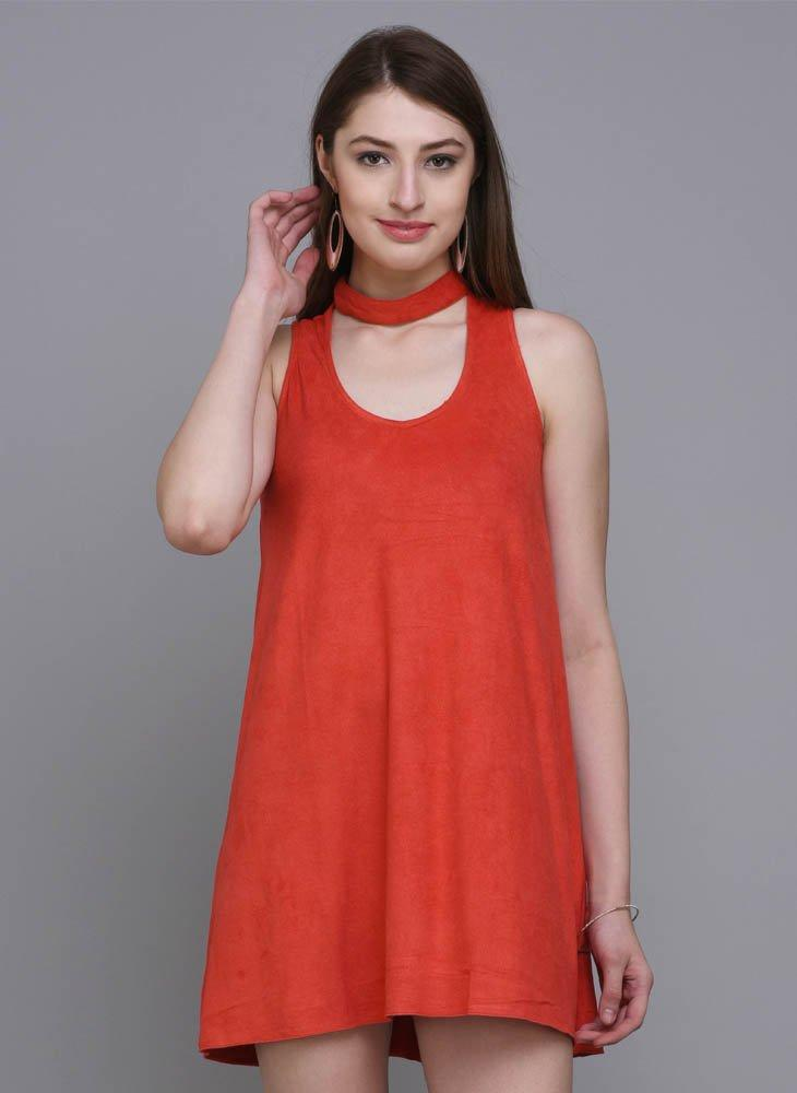 Red Suede A-line Dress with Choker Neckline