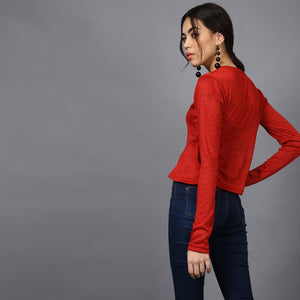 Bright Red Crop Top with Insert Flare