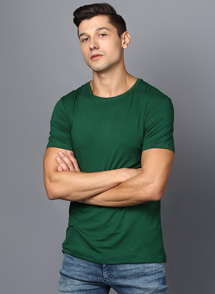 Basic Green Rib Knit T-Shirt