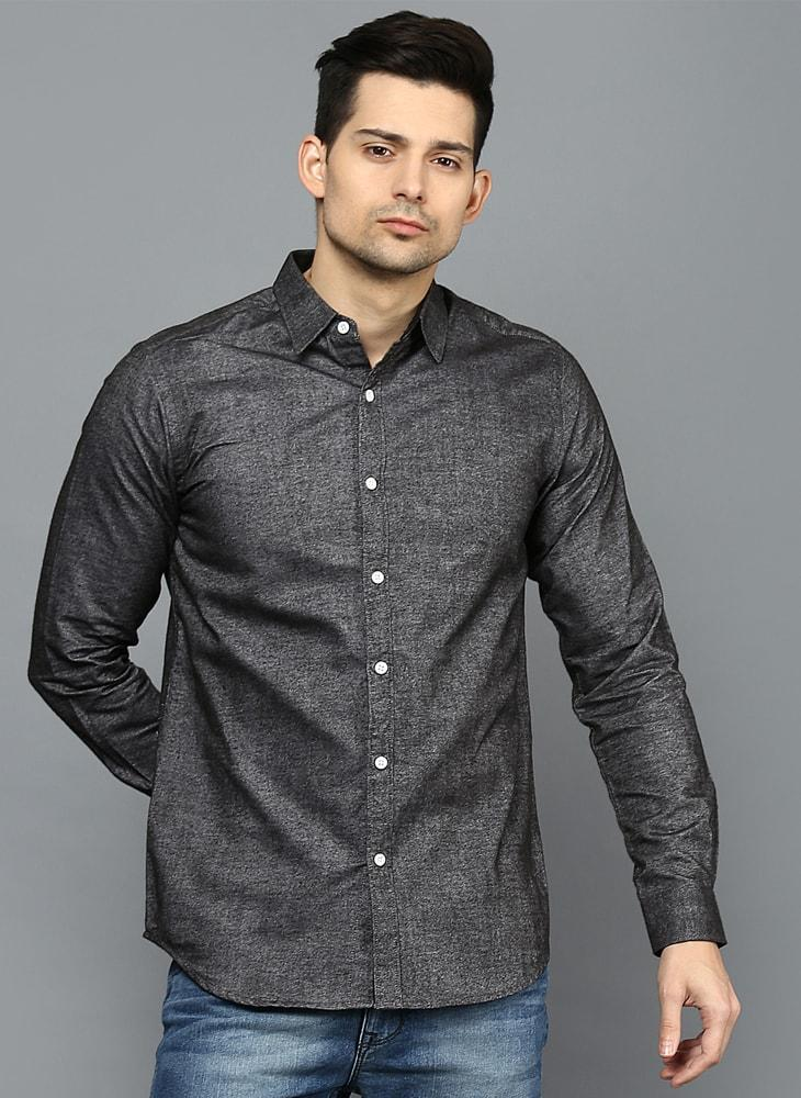 Brushed Cotton Charcoal Grey Shirt