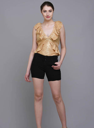 Metallic Textured Frill Bodysuit