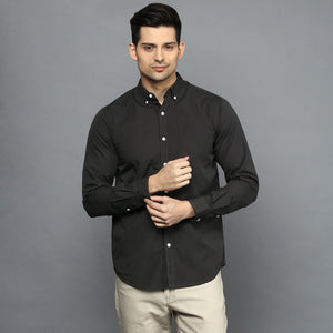 Charcoal Black Button Down Regular Fit Shirt