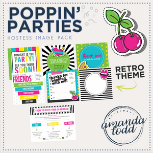 RETRO POPPIN' PARTY HOSTESS IMAGE PACK WITH VERBIAGE