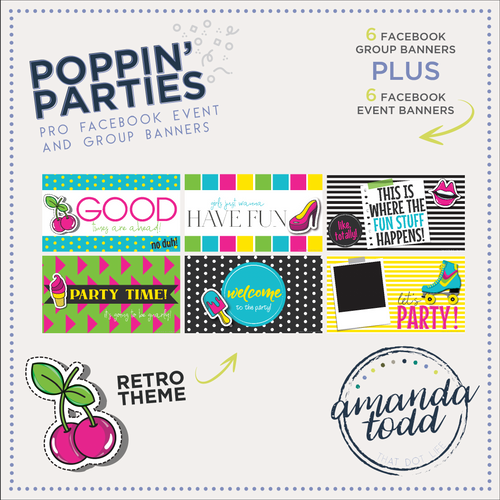 RETRO POPPIN' PARTY- Facebook Event and Group Banners