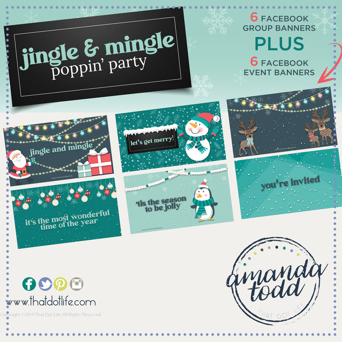 Jingle & Mingle THEME POPPIN' PARTY- Facebook Event and Group Banners