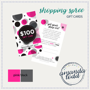 Shopping Spree Gift Cards- pink/black