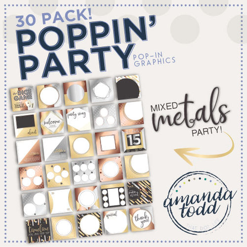 MIXED METALS POPPIN' PARTY IMAGE PACK - Set of 30 Template Graphics